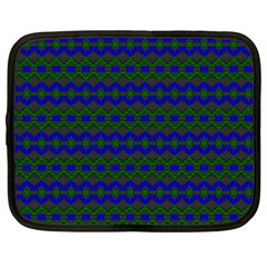 Split Diamond Blue Green Woven Fabric Netbook Case (large) by Mariart