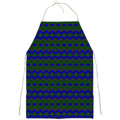 Split Diamond Blue Green Woven Fabric Full Print Aprons by Mariart