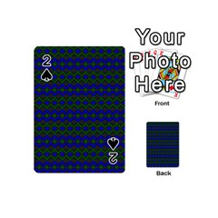Split Diamond Blue Green Woven Fabric Playing Cards 54 (mini)  by Mariart