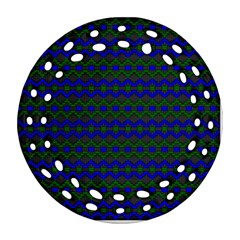 Split Diamond Blue Green Woven Fabric Ornament (round Filigree) by Mariart