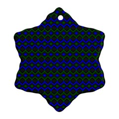 Split Diamond Blue Green Woven Fabric Snowflake Ornament (two Sides) by Mariart