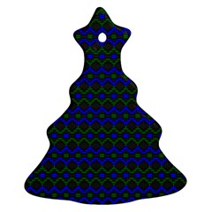 Split Diamond Blue Green Woven Fabric Christmas Tree Ornament (two Sides) by Mariart