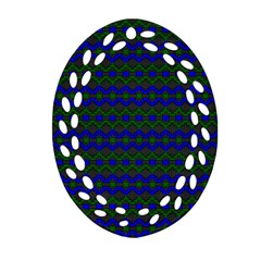 Split Diamond Blue Green Woven Fabric Oval Filigree Ornament (two Sides) by Mariart