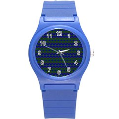 Split Diamond Blue Green Woven Fabric Round Plastic Sport Watch (s) by Mariart