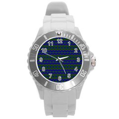 Split Diamond Blue Green Woven Fabric Round Plastic Sport Watch (l) by Mariart