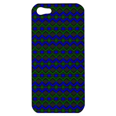 Split Diamond Blue Green Woven Fabric Apple Iphone 5 Hardshell Case by Mariart