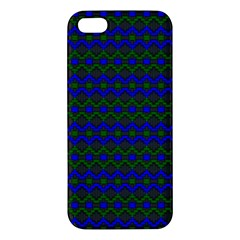 Split Diamond Blue Green Woven Fabric Apple Iphone 5 Premium Hardshell Case by Mariart