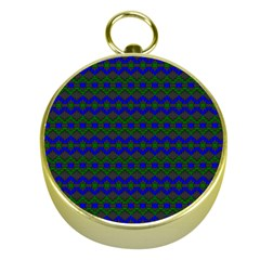 Split Diamond Blue Green Woven Fabric Gold Compasses by Mariart