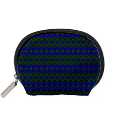 Split Diamond Blue Green Woven Fabric Accessory Pouches (small)  by Mariart
