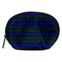 Split Diamond Blue Green Woven Fabric Accessory Pouches (medium)  by Mariart