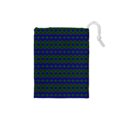Split Diamond Blue Green Woven Fabric Drawstring Pouches (small)  by Mariart