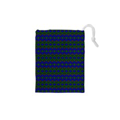Split Diamond Blue Green Woven Fabric Drawstring Pouches (xs)  by Mariart