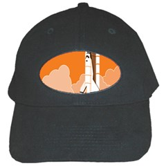 Rocket Space Ship Orange Black Cap by Mariart