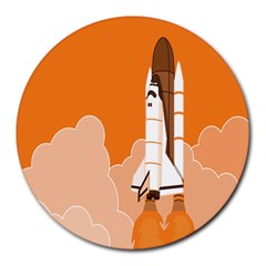Rocket Space Ship Orange Round Mousepads