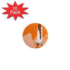 Rocket Space Ship Orange 1  Mini Magnet (10 Pack)  by Mariart