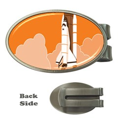 Rocket Space Ship Orange Money Clips (oval)  by Mariart