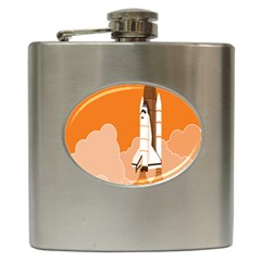 Rocket Space Ship Orange Hip Flask (6 Oz) by Mariart