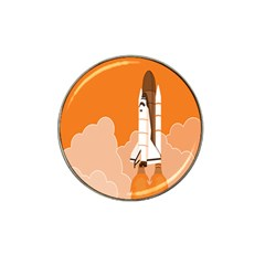 Rocket Space Ship Orange Hat Clip Ball Marker (10 Pack) by Mariart
