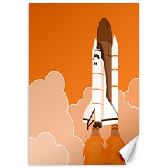 Rocket Space Ship Orange Canvas 12  X 18   by Mariart