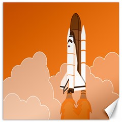 Rocket Space Ship Orange Canvas 16  X 16   by Mariart