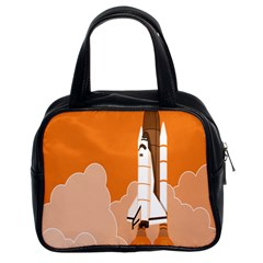 Rocket Space Ship Orange Classic Handbags (2 Sides) by Mariart