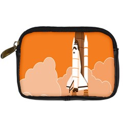 Rocket Space Ship Orange Digital Camera Cases by Mariart