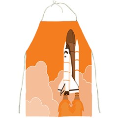 Rocket Space Ship Orange Full Print Aprons by Mariart