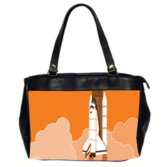 Rocket Space Ship Orange Office Handbags (2 Sides)  by Mariart