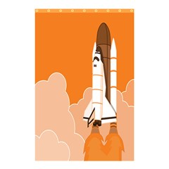 Rocket Space Ship Orange Shower Curtain 48  X 72  (small)