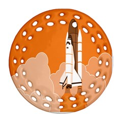 Rocket Space Ship Orange Round Filigree Ornament (two Sides) by Mariart