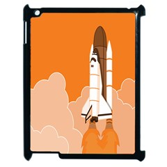 Rocket Space Ship Orange Apple Ipad 2 Case (black) by Mariart