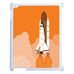 Rocket Space Ship Orange Apple Ipad 2 Case (white) by Mariart