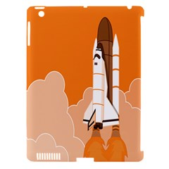 Rocket Space Ship Orange Apple Ipad 3/4 Hardshell Case (compatible With Smart Cover) by Mariart