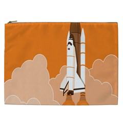 Rocket Space Ship Orange Cosmetic Bag (xxl)  by Mariart