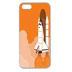 Rocket Space Ship Orange Apple Seamless Iphone 5 Case (clear) by Mariart