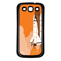 Rocket Space Ship Orange Samsung Galaxy S3 Back Case (black) by Mariart