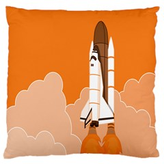 Rocket Space Ship Orange Large Flano Cushion Case (one Side) by Mariart