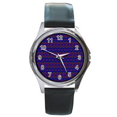 Split Diamond Blue Purple Woven Fabric Round Metal Watch by Mariart