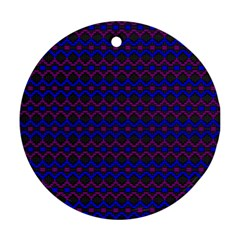 Split Diamond Blue Purple Woven Fabric Ornament (round) by Mariart