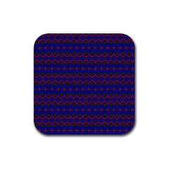 Split Diamond Blue Purple Woven Fabric Rubber Coaster (square)  by Mariart