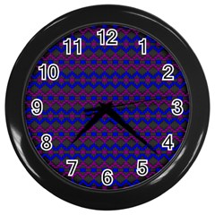 Split Diamond Blue Purple Woven Fabric Wall Clocks (black) by Mariart