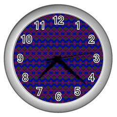 Split Diamond Blue Purple Woven Fabric Wall Clocks (silver)  by Mariart