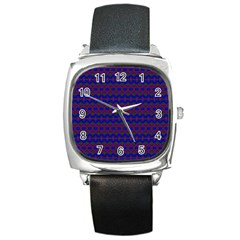 Split Diamond Blue Purple Woven Fabric Square Metal Watch by Mariart