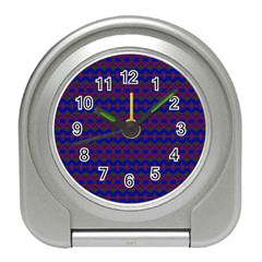 Split Diamond Blue Purple Woven Fabric Travel Alarm Clocks by Mariart