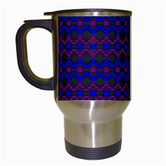 Split Diamond Blue Purple Woven Fabric Travel Mugs (white) by Mariart