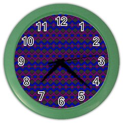Split Diamond Blue Purple Woven Fabric Color Wall Clocks by Mariart