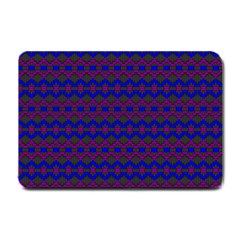Split Diamond Blue Purple Woven Fabric Small Doormat  by Mariart