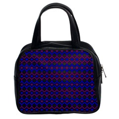 Split Diamond Blue Purple Woven Fabric Classic Handbags (2 Sides)