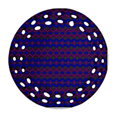 Split Diamond Blue Purple Woven Fabric Round Filigree Ornament (two Sides) by Mariart