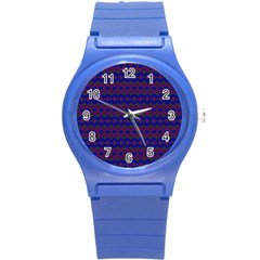 Split Diamond Blue Purple Woven Fabric Round Plastic Sport Watch (s) by Mariart